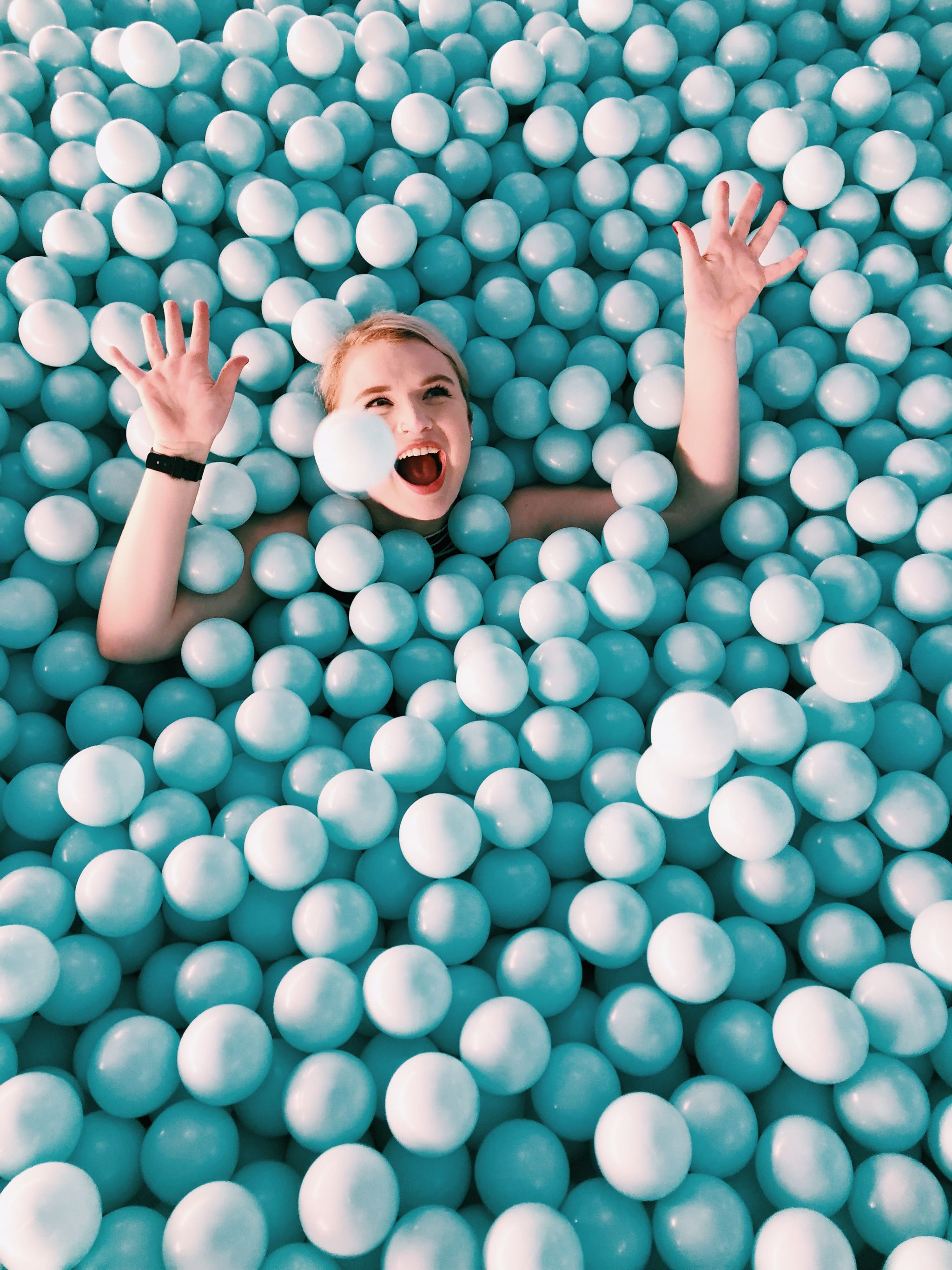 Most Instagrammable Spots in SoHo - the color factory blue ball pit