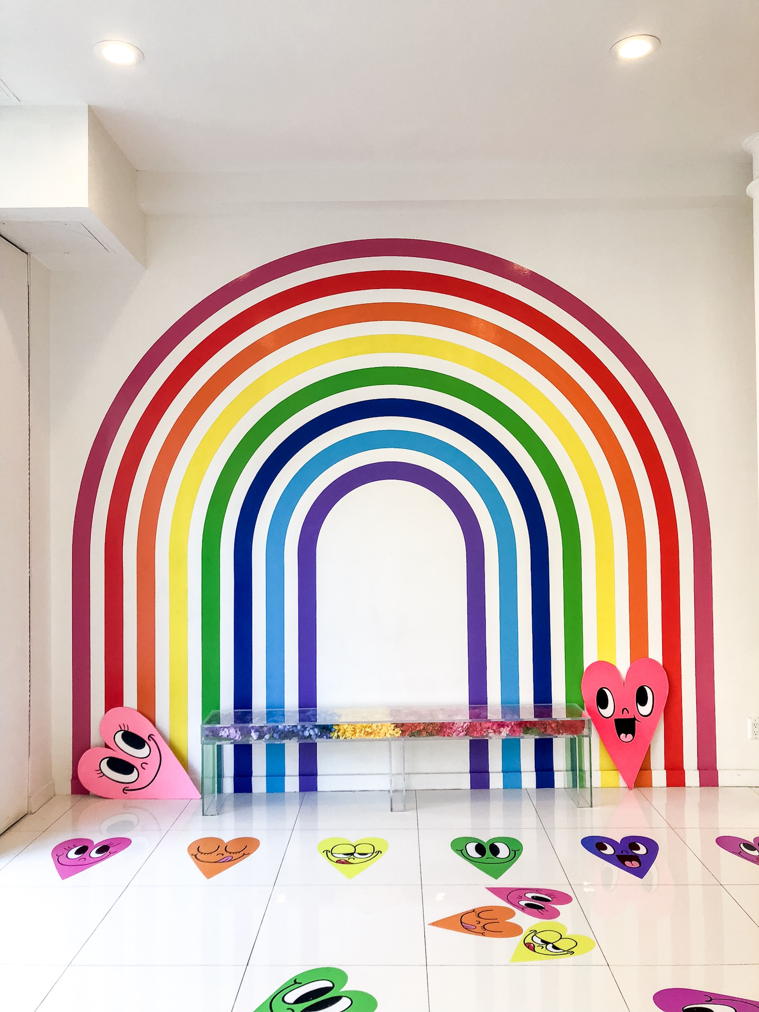 Most Instagrammable Spots in SoHo - flour shop nyc rainbows and hearts