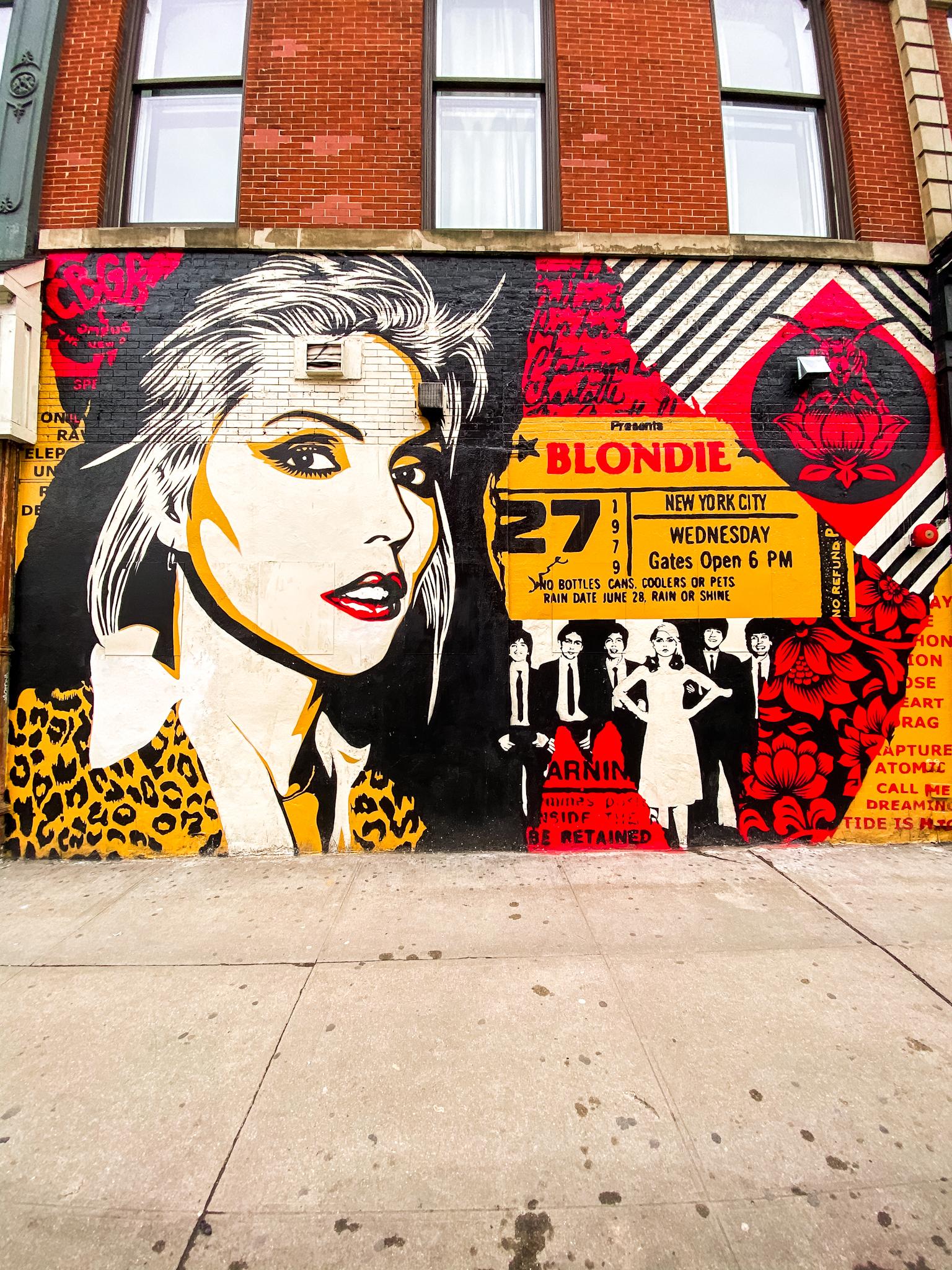 Debbie Harry Mural NYC, Blondie Mural in NYC, CBGB NYC mural