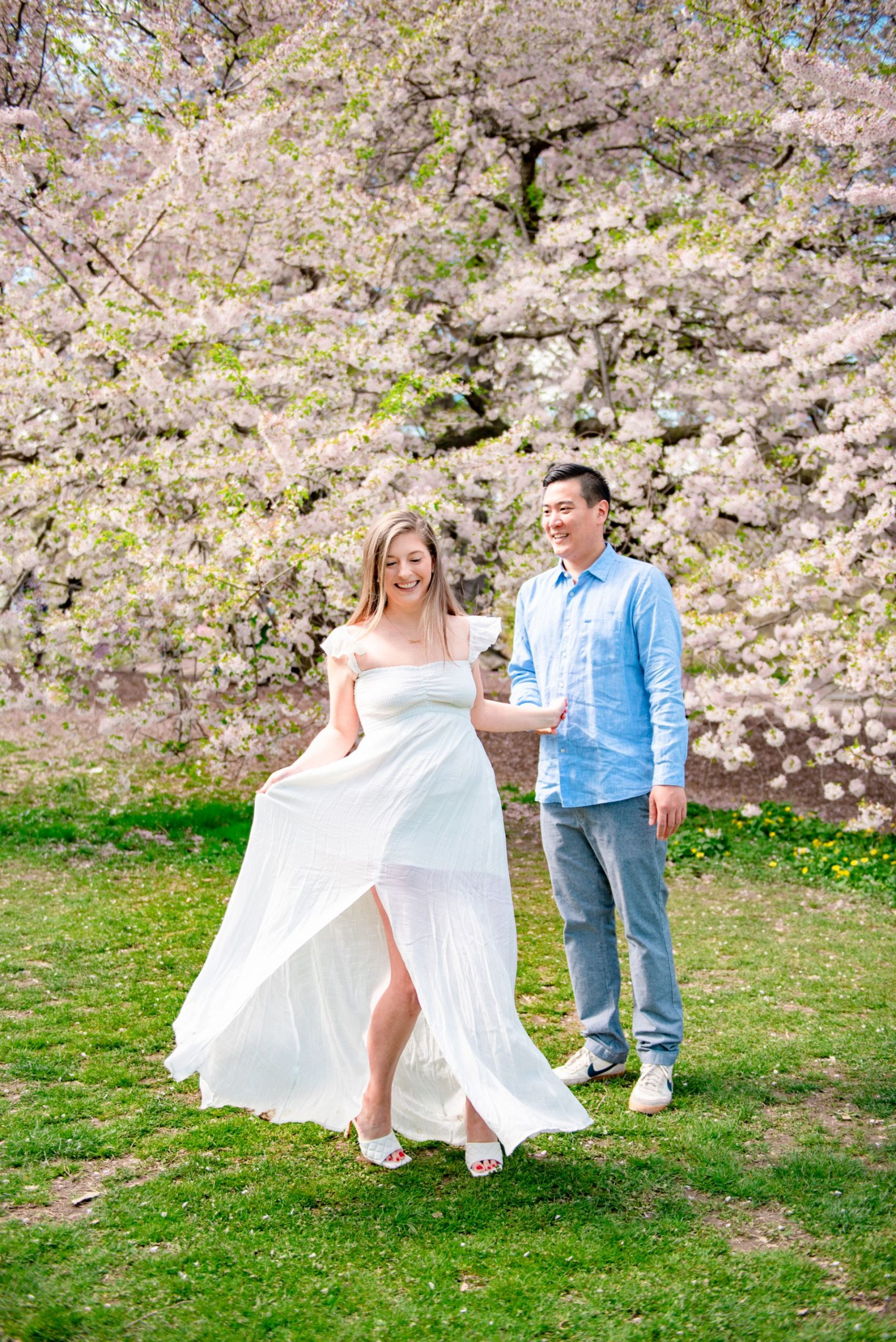 Cherry Hill Central Park NYC Spring Engagement Photoshoot