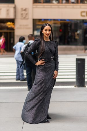 Faouzia at Pat Bo New York Fashion Week street fashion outfits - Karya Schanilec Photography NYC fashion photographer