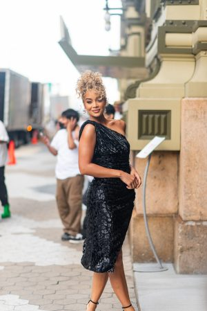 Golden Barbie at Dundas x Revolve New York Fashion Week street style - Karya Schanilec Photography NYC fashion photographer